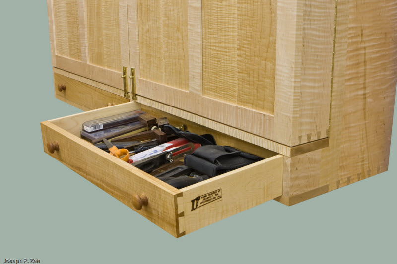 Wall Hanging Hand Tool Cabinet - Drawers Open